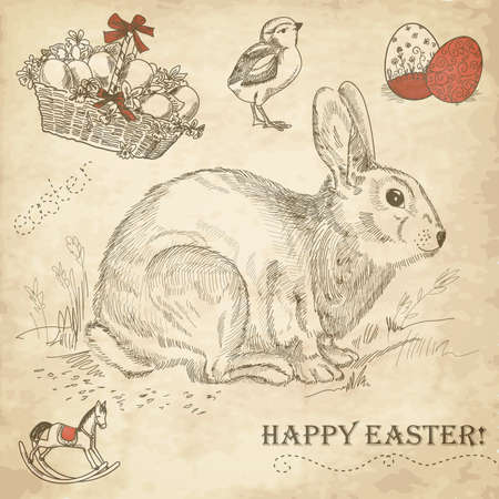 Vintage konijn van Pasen Stock Illustratie