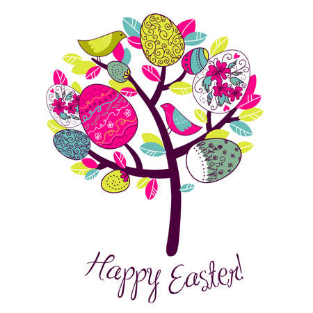 easter tree: Easter Card with tree, eggs and birds  Illustration