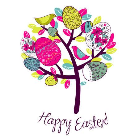 arbol de pascua: Tarjeta de Pascua con los árboles, los huevos y las aves Vectores