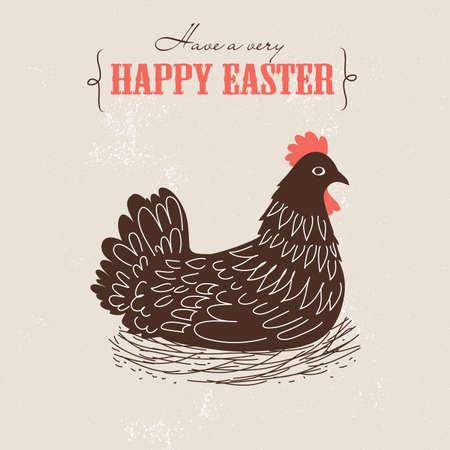 Mignon carte de Pâques avec du poulet