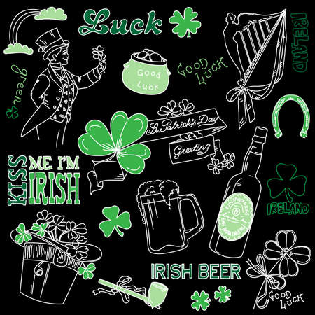 irish symbols: Saint Patricks Day doodles