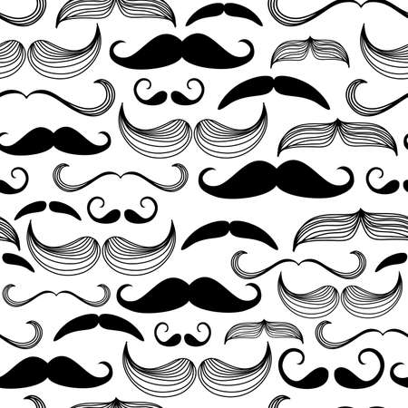 white moustache: A Gentlemens Club. Mustache seamless pattern