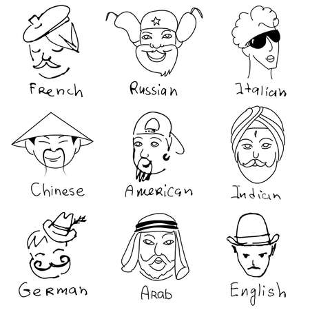 Different stereotypes of nationalities from all over the world. Hand drawn doodles. Stock Vector - 12851176