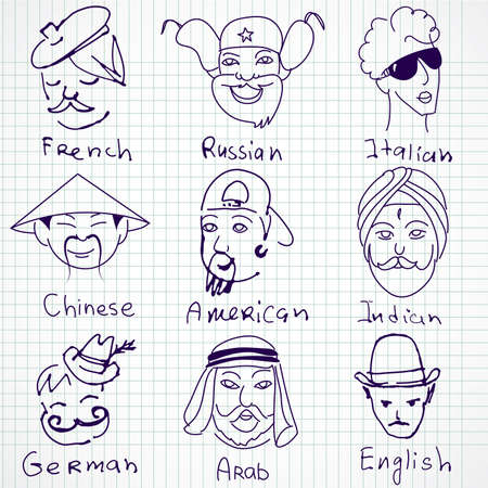 Different stereotypes of nationalities from all over the world. Hand drawn doodles. Vector