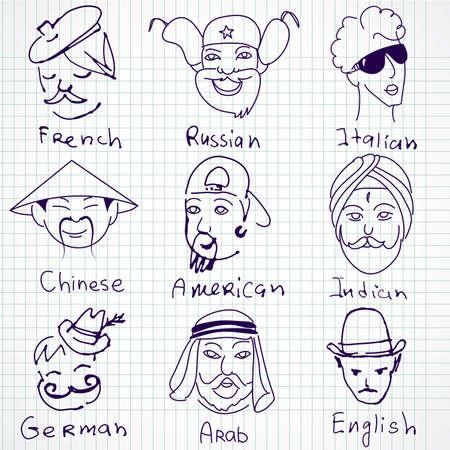 british culture: Estereotipos de diferentes nacionalidades de todo el mundo. Dibujado a mano garabatos.