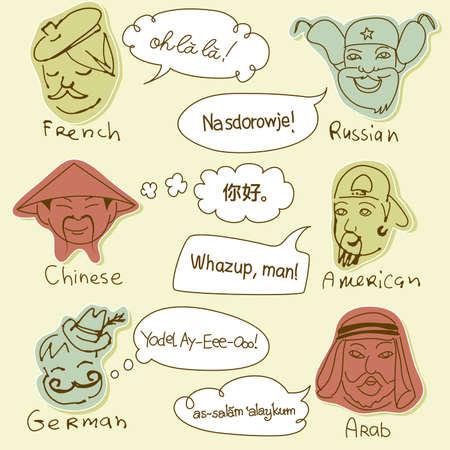cultural diversity: Estereotipos de diferentes nacionalidades de todo el mundo. Dibujado a mano garabatos.