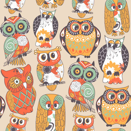 owl cartoon: Seamless owl pattern.