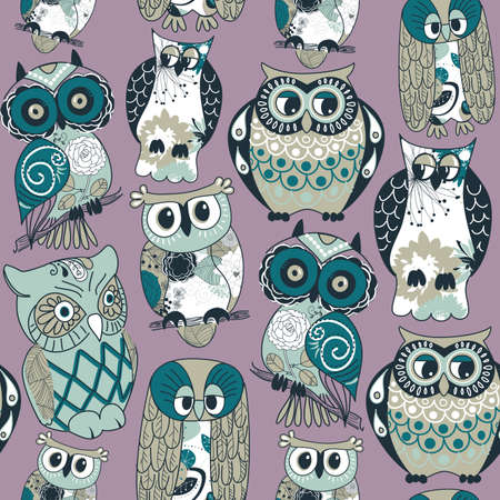 Seamless owl pattern.  Vector