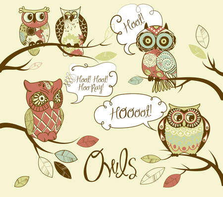 owl on branch: Collection of five different owls with speach bubbles