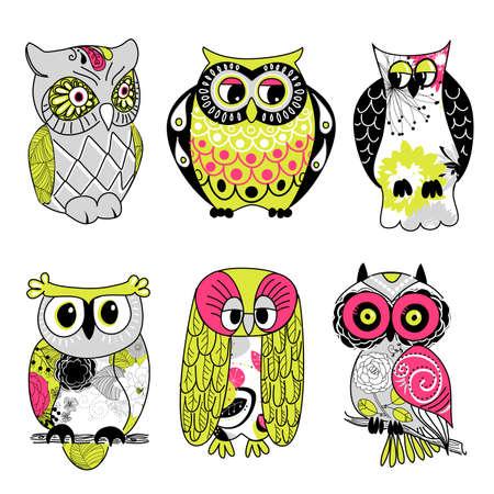 hibou: Collection de six hiboux diff�rents Illustration