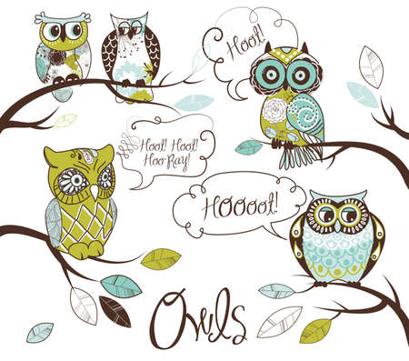 speach: Collection of five different owls with speach bubbles