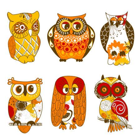 isolated owl: Colecci�n de seis lechuzas diferentes Vectores