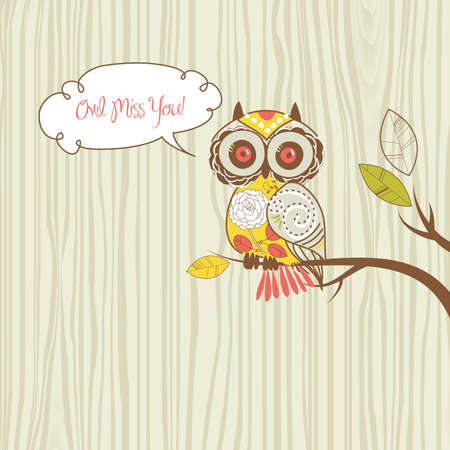 Cute Owl. Owl miss you card Vector
