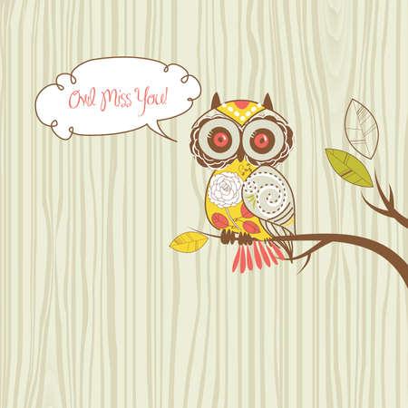 Cute Owl. Owl miss you card