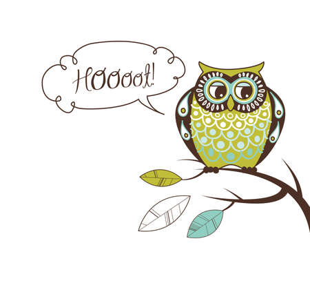 cartoon bouquet: Cute illustration Owl. Hoooot card