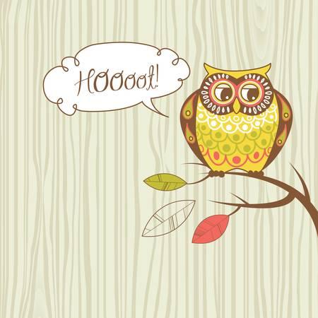 Cute illustration Owl. Hoooot card Vector