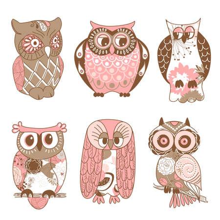 oeil dessin: Collection de six hiboux diff�rents Illustration