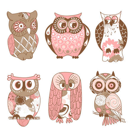Collection of six different owls  Vector