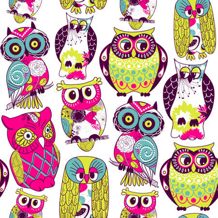 eamless owl pattern.  Vector