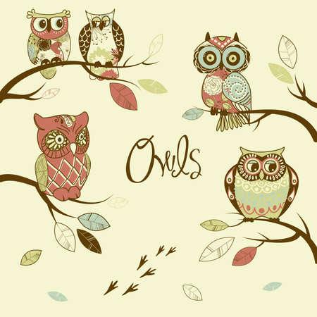 isolated owl: Los b�hos, tarjeta de moda con los b�hos que se sienta en los almuerzos