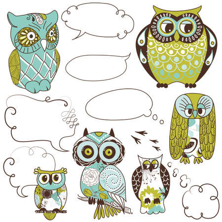 Collection of six different owls with speach bubbles Illustration