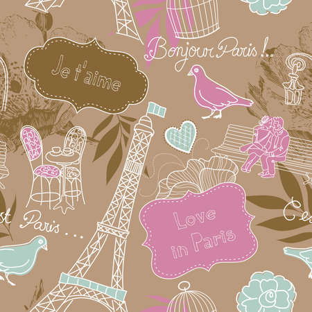 Love in Paris. Seamless pattern  Vector