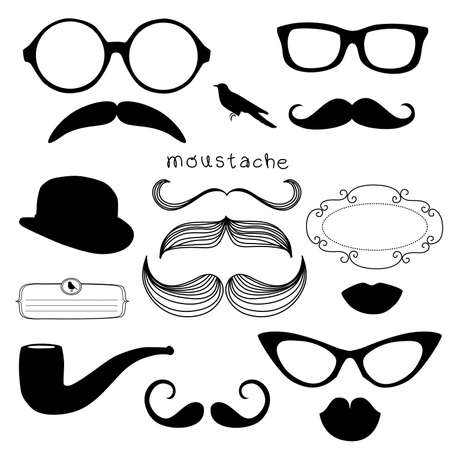 Retro Party set - Sunglasses, lips, mustaches Stock Vector - 12851198