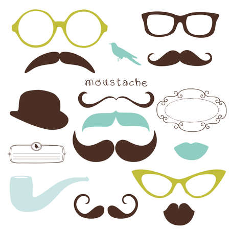 Retro Party set - Sunglasses, lips, mustaches Stock Vector - 12851172