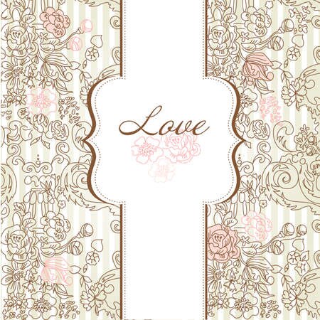 Vintage floral background. Illustration.  Illustration