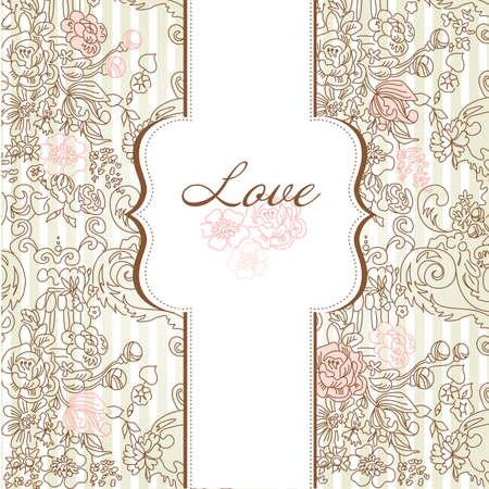 wedding card design: Vintage floral background. Illustration.  Illustration