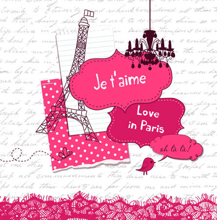 In Love with Paris, Cute scrapbook elements  Illustration