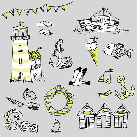 Sea doodles Иллюстрация