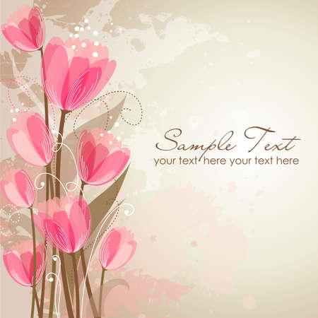 invitations card: Romantic Flower Background  Illustration