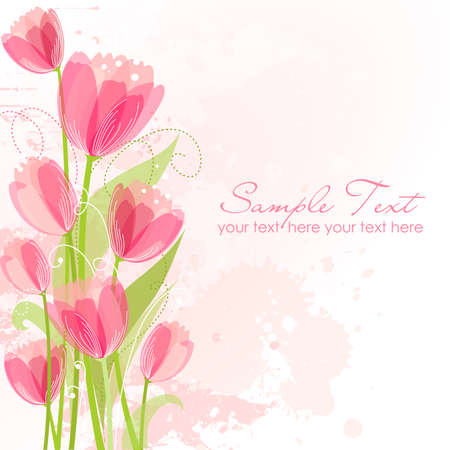 border line: Floral background with tulips