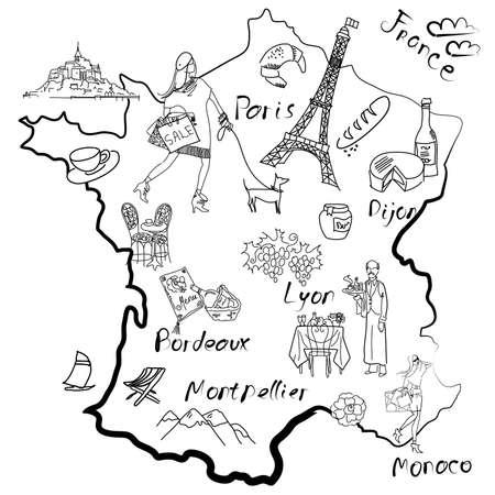 Stilisierte Karte von Frankreich. Dinge, die verschiedenen Regionen in Frankreich berühmt sind. Vektorgrafik