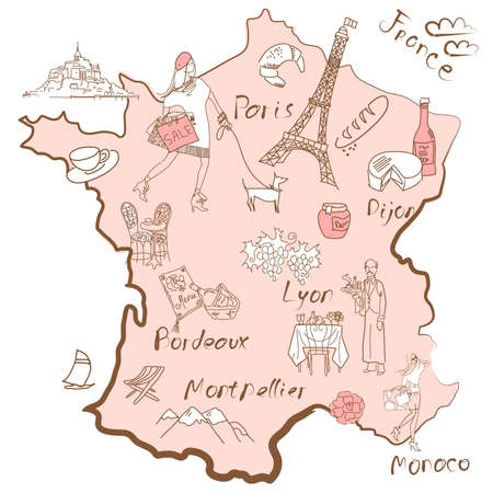 france map: Stylized map of France. Things that different Regions in France are famous for. Illustration