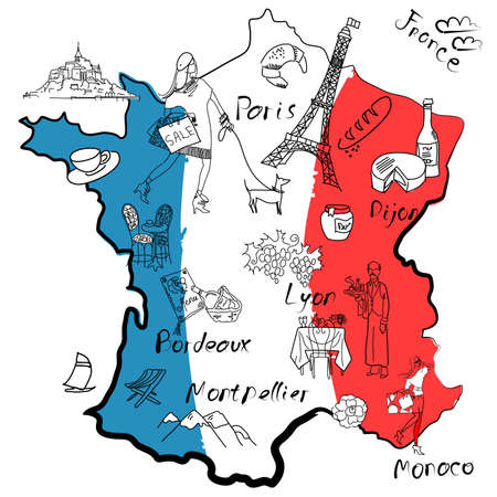 french flag: Stylized map of France. Things that different Regions in France are famous for. Illustration
