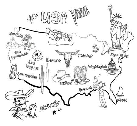 usa map: Stylized map of America. Things that different Regions in USA are famous for.