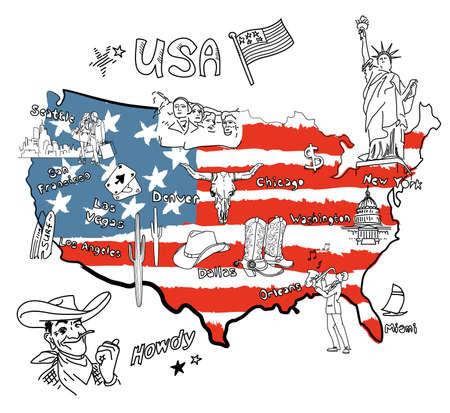 Stylized map of America. Things that different Regions in USA are famous for. Vector