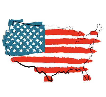estados unidos bandera: Enfriar EE.UU. mapa con la bandera de EE.UU.