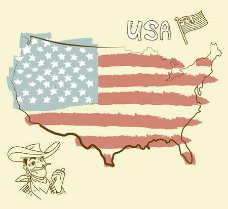 estados unidos bandera: EE.UU. mapa con la bandera de EE.UU. Vectores