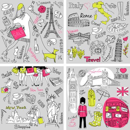 Touring: Włochy, Anglia, Francja, USA - cztery wspaniałe kolekcje ręcznie rysowane doodles Ilustracja