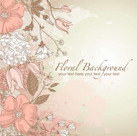 Cute floral greeting card Vector