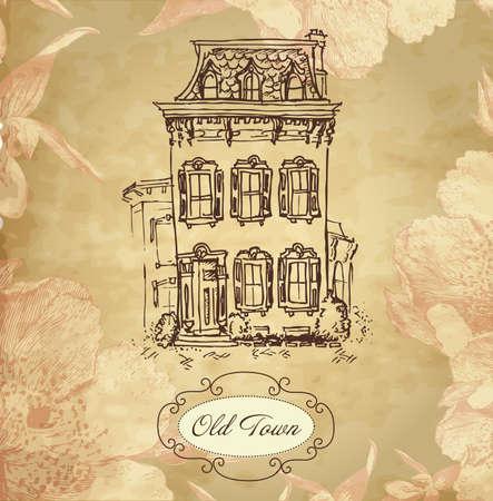 フレームと美しい花の背景を持つヴィンテージ手引かれた家のカード
