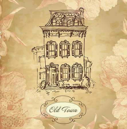 manor: Vintage hand drawn house card with frame and beautiful flower background