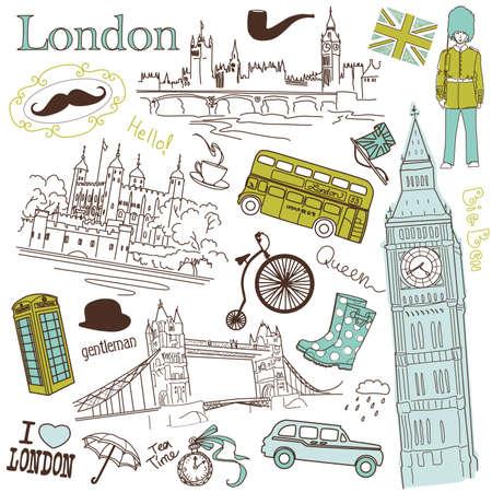 bigote: Londres garabatos Vectores