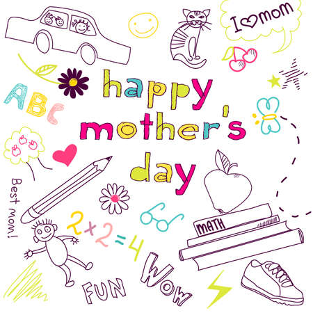 Mother's day card in a style of a Child's drawing Stock Vector - 13339766