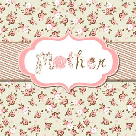 """Getrokken Vector floral frame met een woord """"moeder"""". Grote Moederdag-kaart"""
