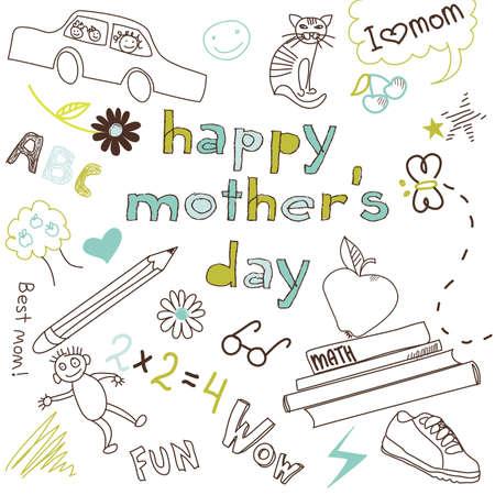 jardin de infantes: Madre de tarjeta del día en un estilo de dibujo de un niño Vectores