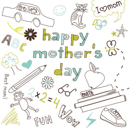 Mother's day card in a style of a Child's drawing Zdjęcie Seryjne - 13339754